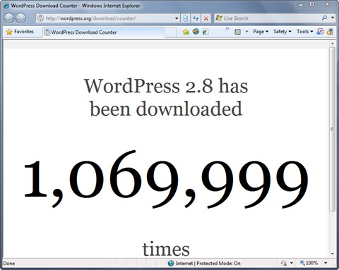Wordpress 2.8 | Миллион скачиваний менее чем за две недели