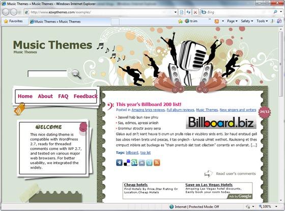 Тема для музыкального блога Mic Monster