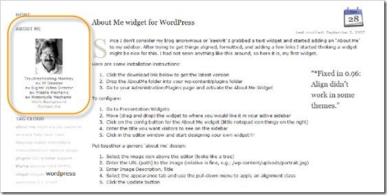 Как вывести информацию об авторе блога | About Me