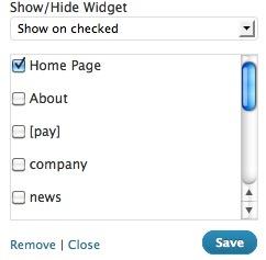 Как отключить виджеты на определенной странице | Display Widgets