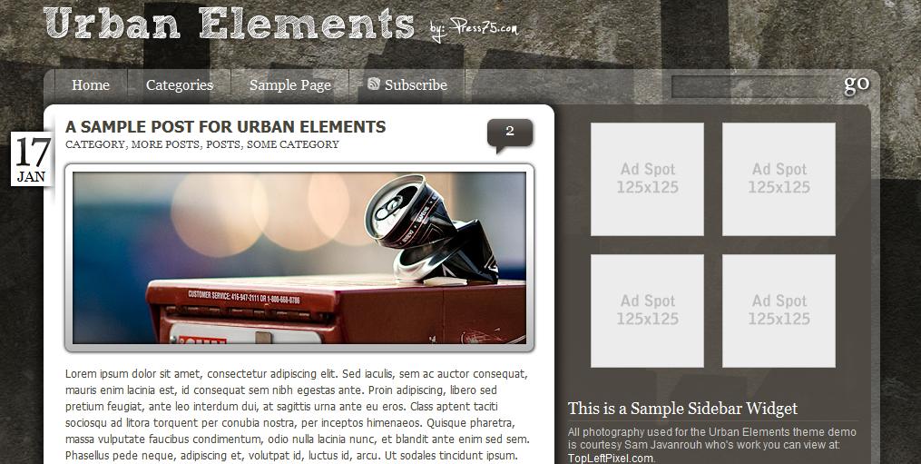 Красивая и простая урбанистическая тема Urban Elements