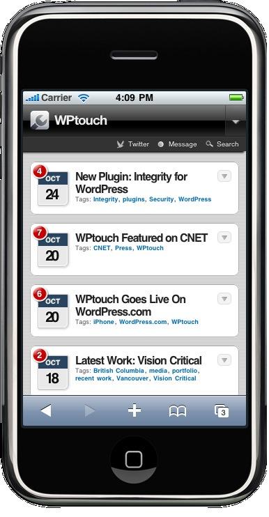 Как из блога сделать айфон   WPtouch iPhone Theme   n-wp.ru
