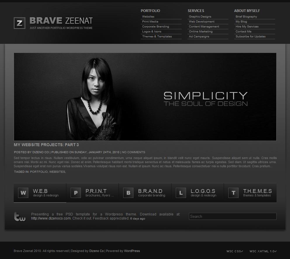 Красивая бесплатная темная тема   Brave Zeenat   n-wp.ru