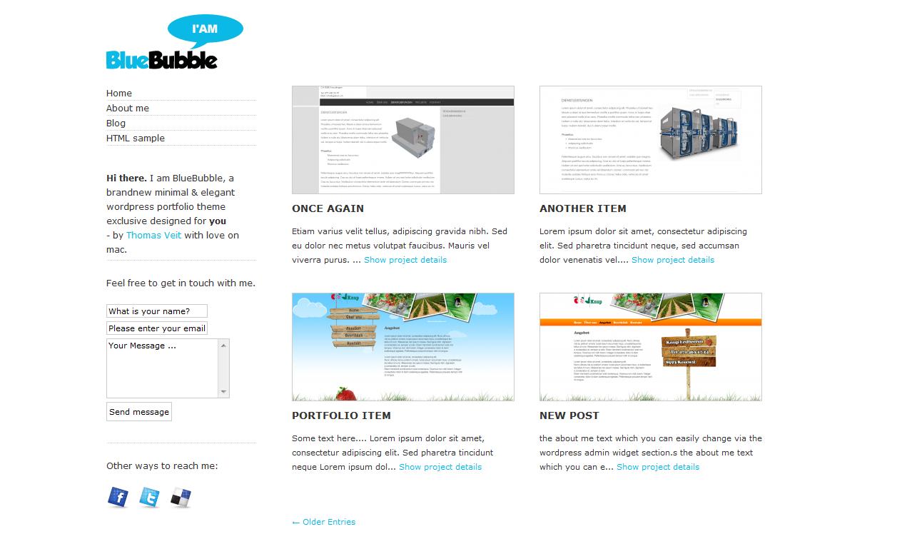 Легкая минималистичная тема | BlueBubble | n-wp.ru