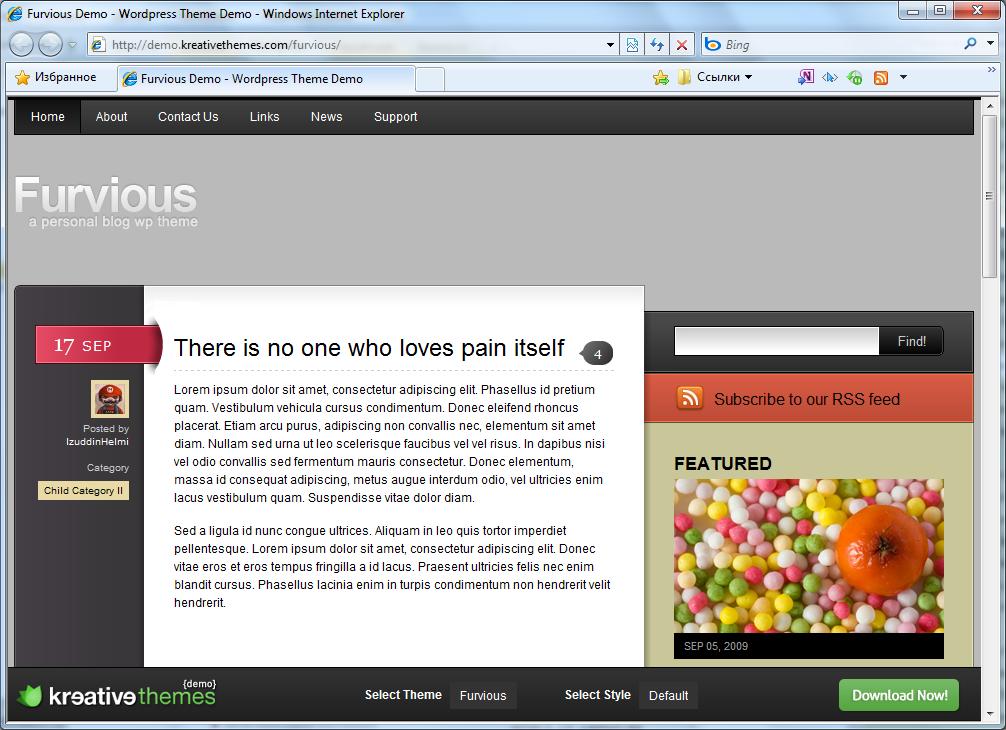Великолепная бесплатная тема | Furvious | n-wp.ru