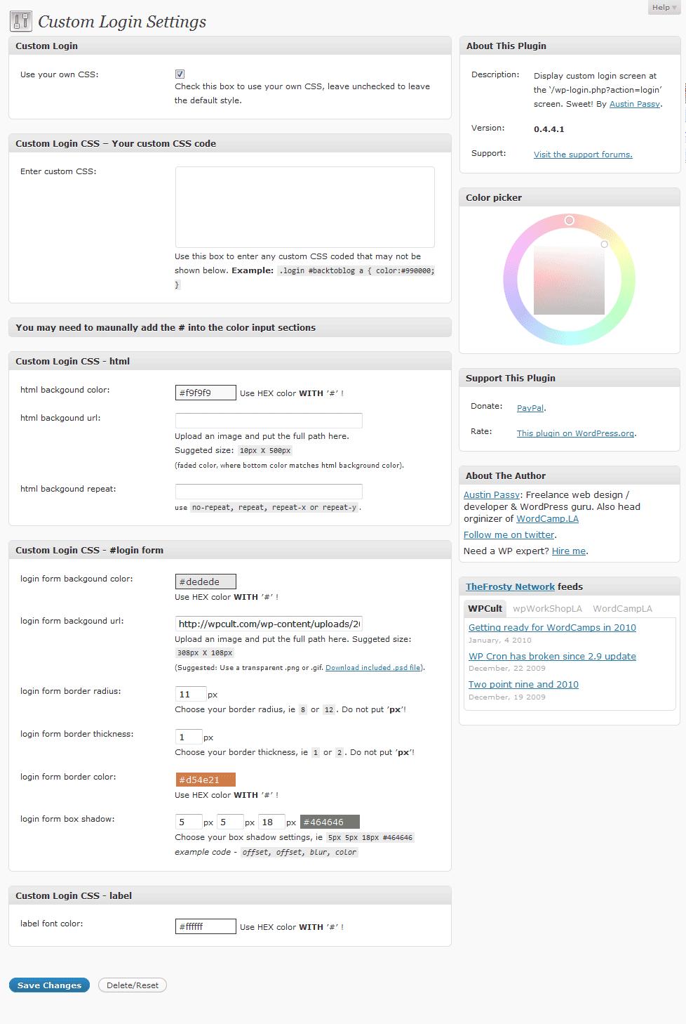 custom-login-settings-page