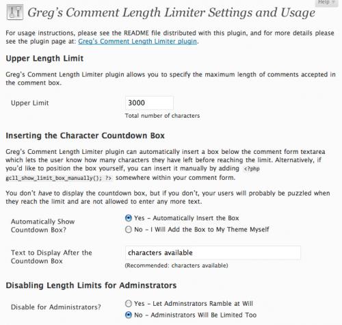 Как ограничить длину комментария | Greg's Comment Length Limiter | n-wp.ru