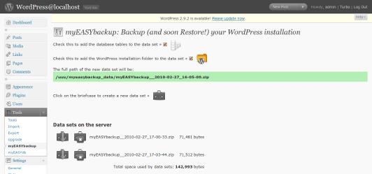 Как сделать бэкап блога | myEASYbackup | n-wp.ru