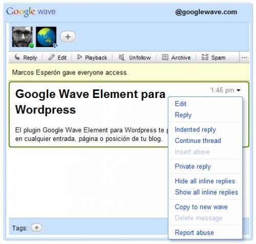 Как добавить Google Wave в блог   Google Wave Element   n-wp.ru
