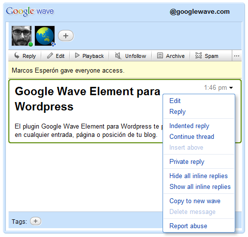Как добавить Google Wave в блог | Google Wave Element | n-wp.ru