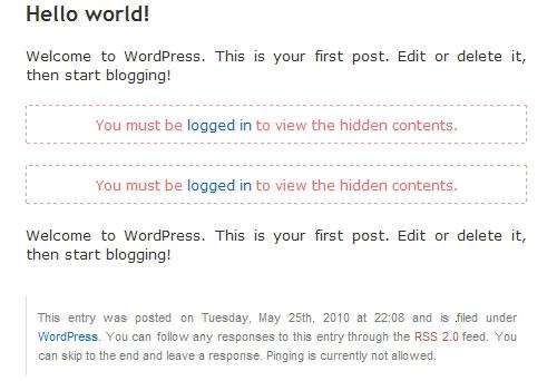 Как показать часть публикации только залогиненым | Login to view all | n-wp.ru