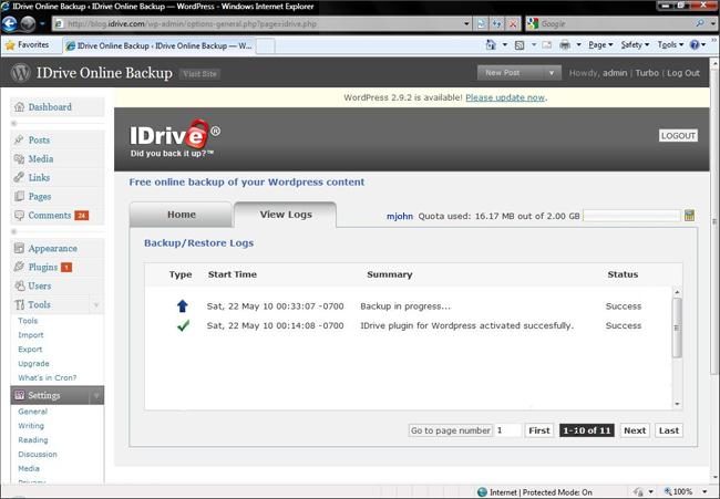 Как создать онлайновый бэкап блога | IDrive for WordPress