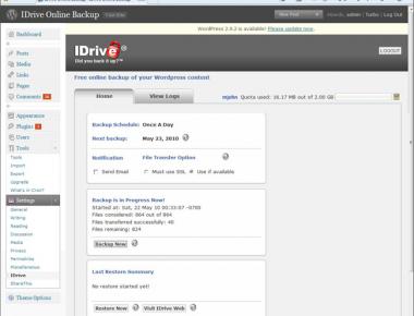 Как создать онлайновый бэкап блога | IDrive for Wordpress | n-wp.ru