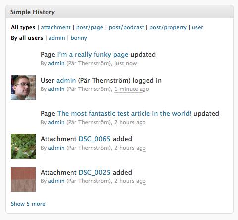Как посмотреть последнюю активность в блоге | Simple History | n-wp.ru