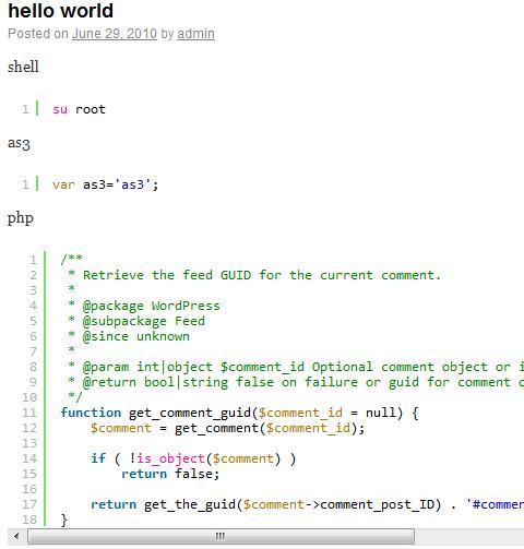 Как подсветить программный код в постах | Auto SyntaxHighlighter | n-wp.ru