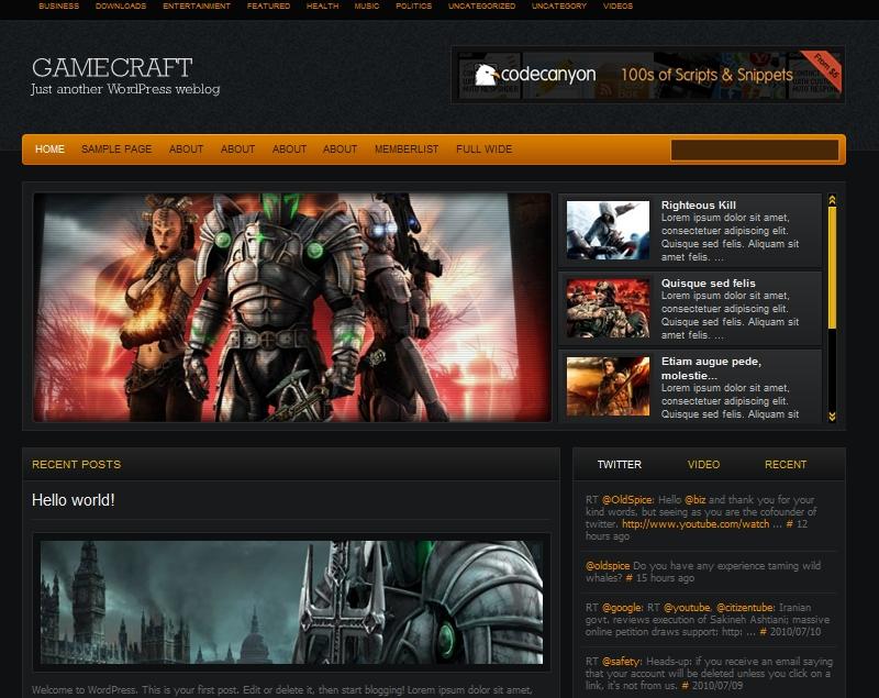 Тема для игрового блога | Gamecraft | n-wp.ru