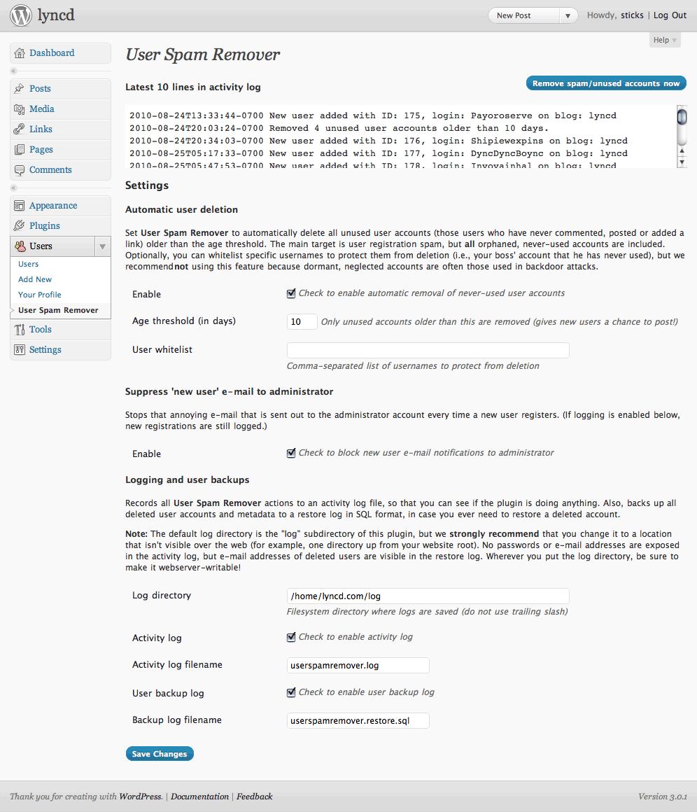 Как автоматизировать удаление спама   User Spam Remover   n-wp.ru