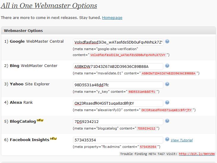 Как добавить поисковые идентификаторы | All in One Webmaster | n-wp.ru