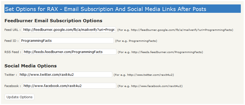Как вывеси кнопки подписки после текста поста   RAX - Email Subscription Social Media After Posts