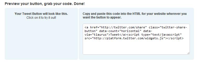 Как добавить официальную кнопку Tweet Button без плагинов