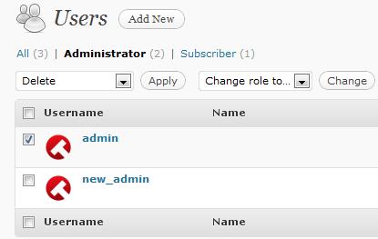 Как удалить пользователя admin