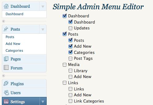 Simple Admin Menu Editor