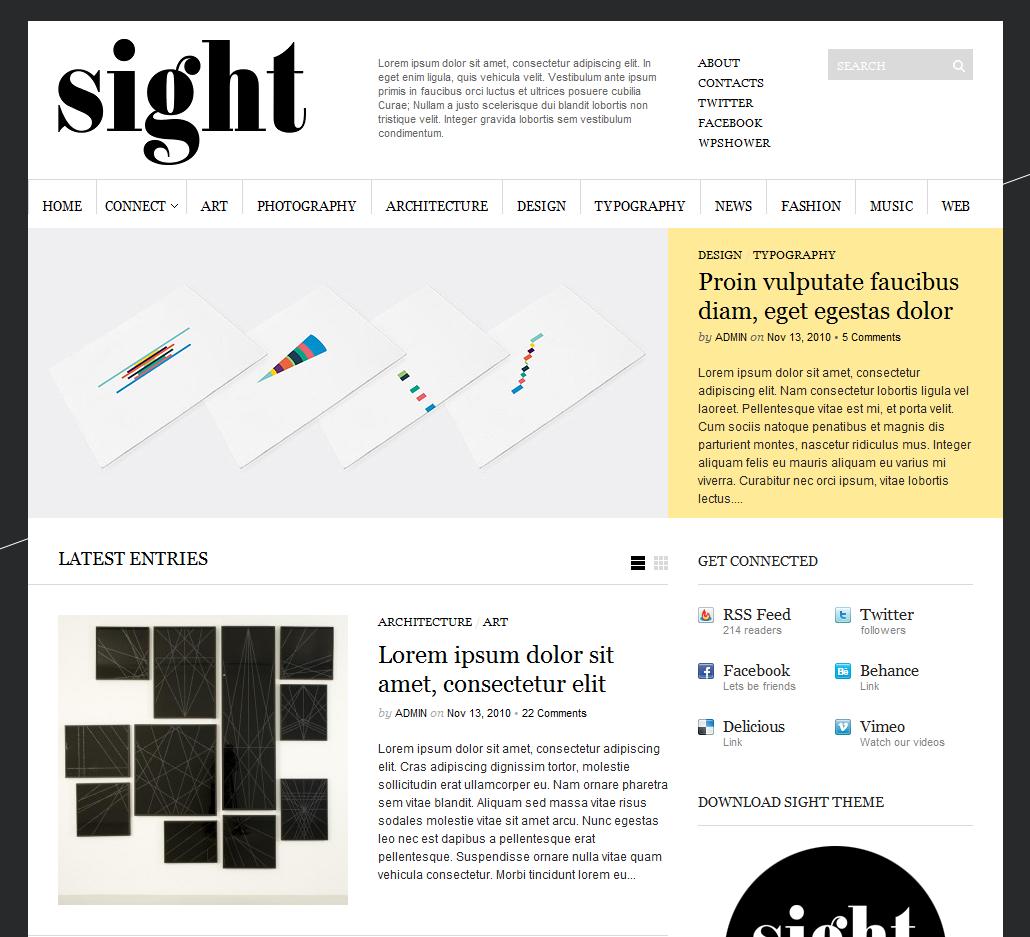 Sight - современная светлая тема с фиксированной шириной | n-wp.ru