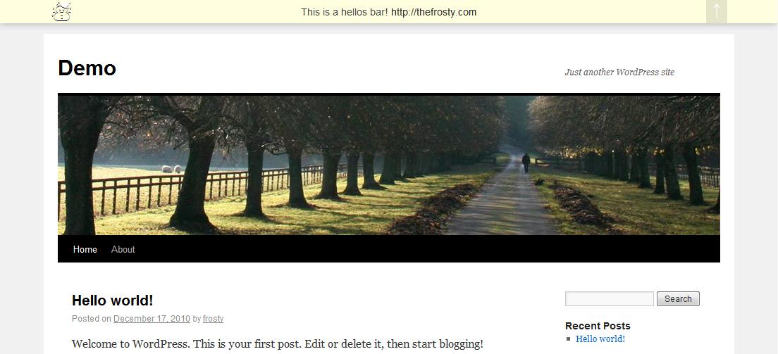 Как добавить интересное приветствие в блог | Hellos Bar | n-wp.ru