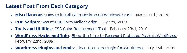 Как вывести последние посты из каждой категории | Latest Post from each Category