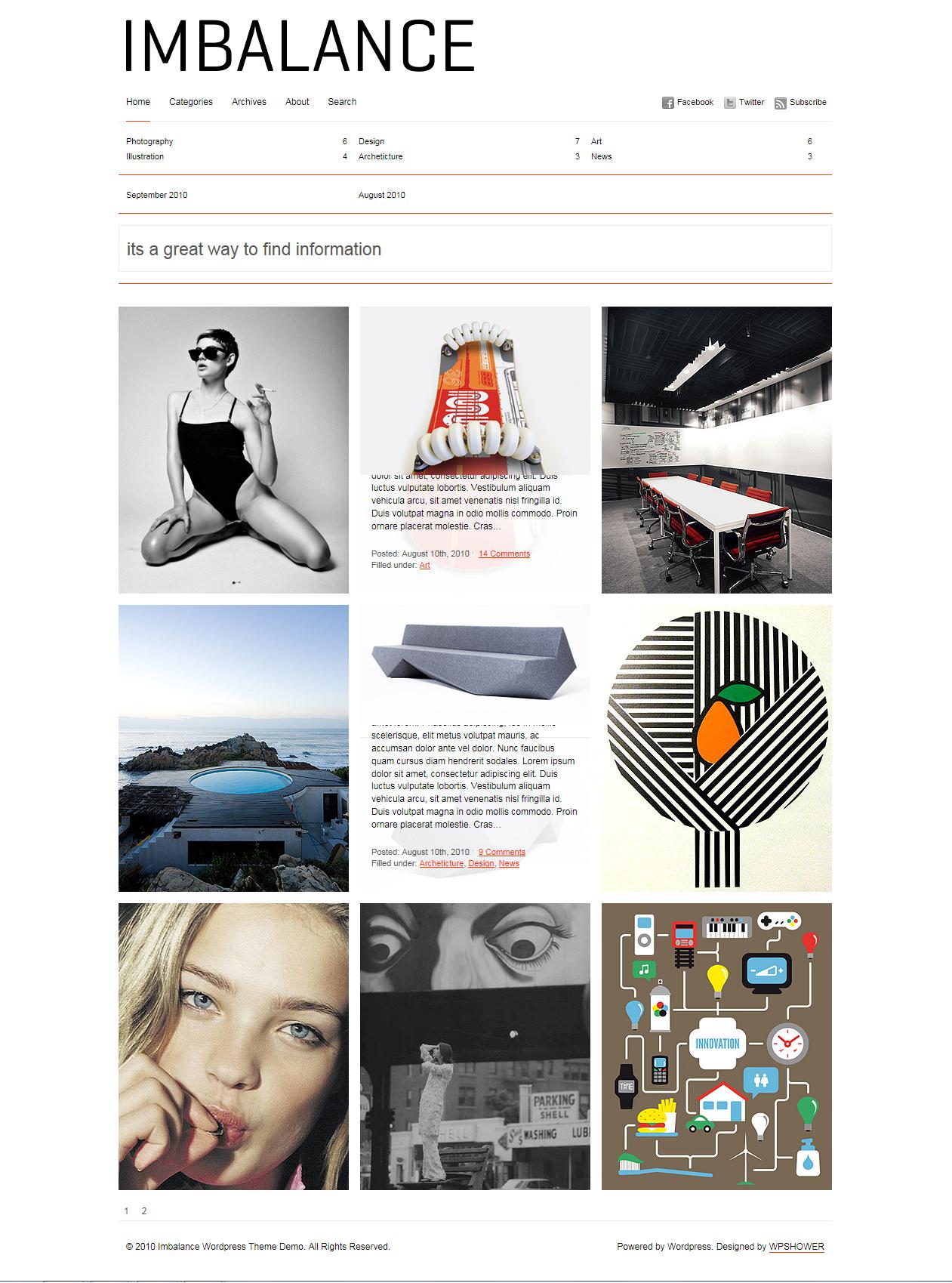 Imbalance - великолепная минималистичная тема для организации фотоблога или портфолио