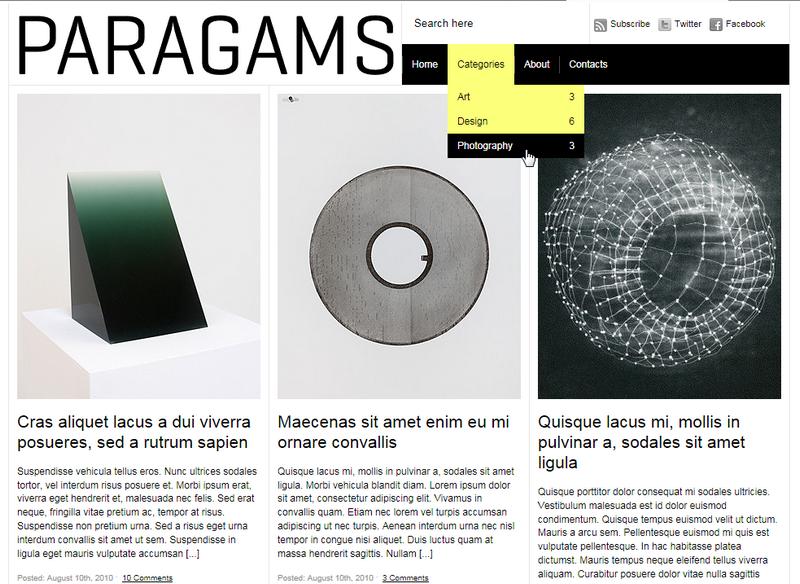 Paragrams - минималистичная тема для блога с изображениями | n-wp.ru