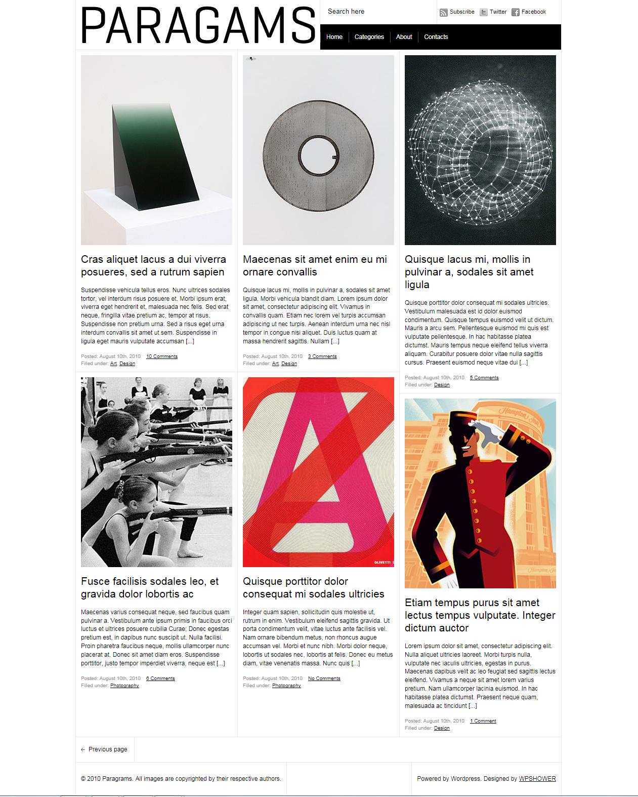 Paragrams - минималистичная тема для блога с изображениями