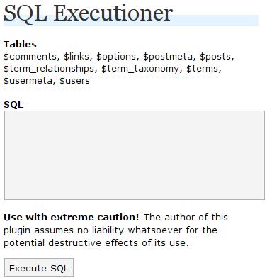 Как выполнить SQL-запрос прямо в админке | WordPress SQL Executioner | n-wp.ru