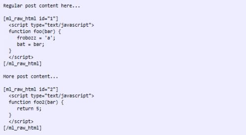 Как отобразить в посте код HTML без форматирования   ML Raw HTML   n-wp.ru
