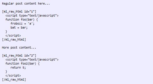 Как отобразить в посте код HTML без форматирования | ML Raw HTML | n-wp.ru