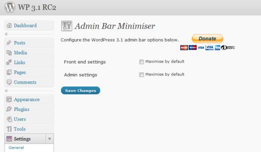 Как сворачивать Admin Bar | Admin Bar Minimiser