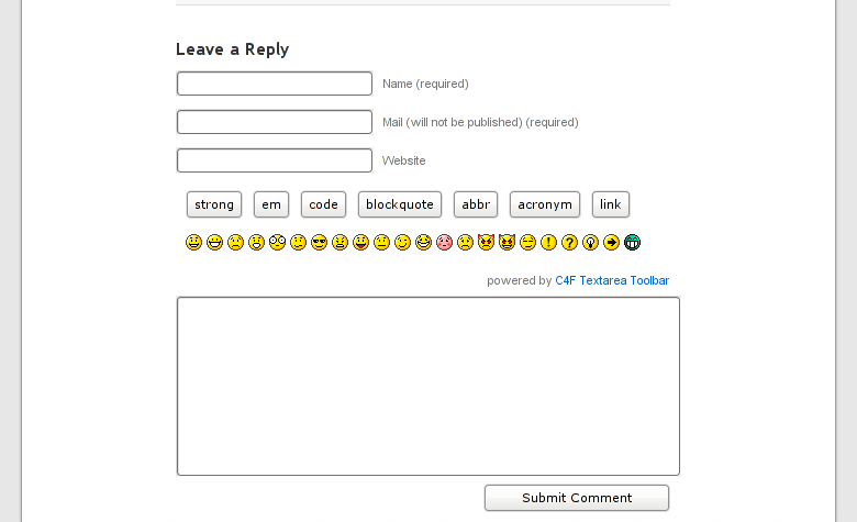 Как добавить тулбар с кнопками форматирования текста и смайликами в форму комментирования   C4F Textarea Toolbar   n-wp.ru