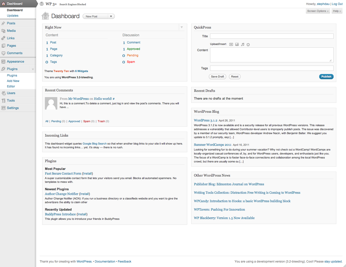 WordPress 3.2 превью