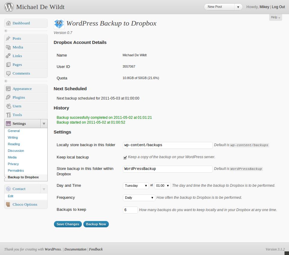 Как сделать онлайновый бэкап | WordPress Backup to Dropbox | n-wp.ru