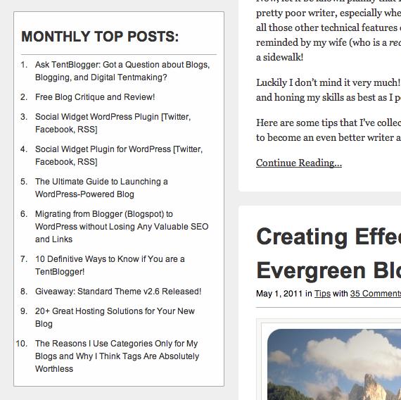 Как показать самые обсуждаемые посты | TentBlogger Simple Top Posts | n-wp.ru