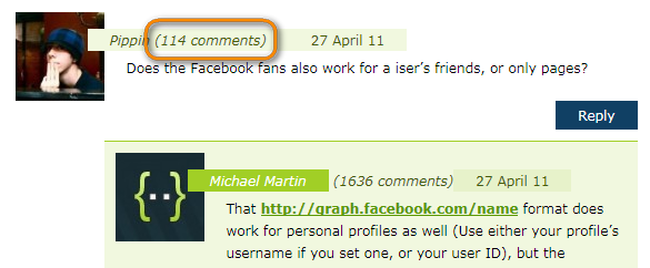 Как вывести количество комментариев рядом с ником комментатора