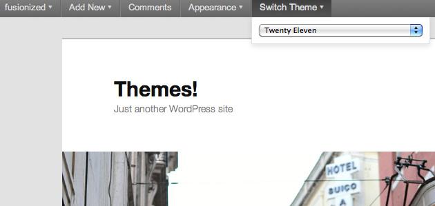 Как менять тему, используя Admin Bar | Admin Bar Theme Switcher | n-wp.ru