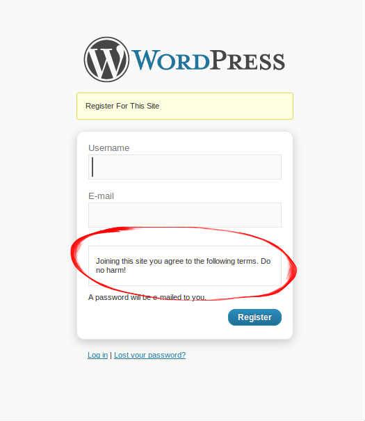 Как показать сообщение для пользователей в форме регистрации | n-wp.ru