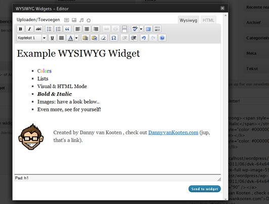 Визуальный редактор для виджетов | WYSIWYG Widgets | n-wp.ru