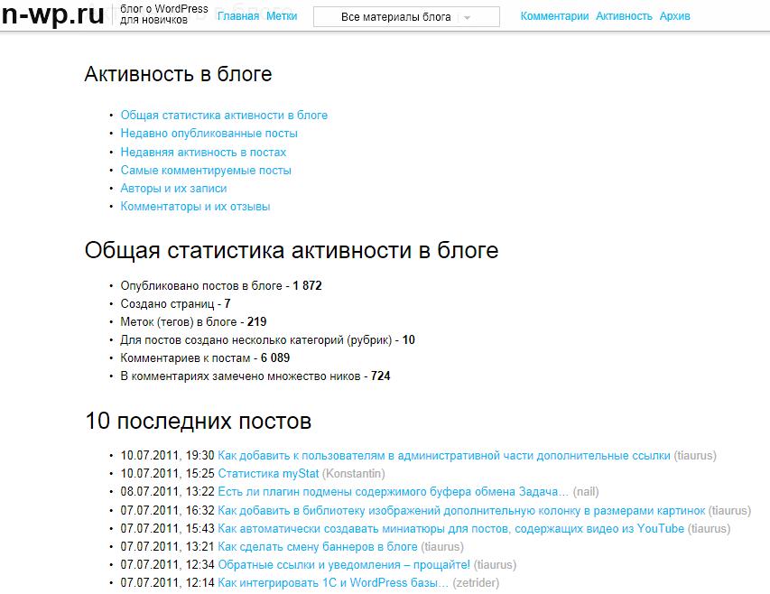 Новые страницы блога с полезными данными - Комментарии и Активность