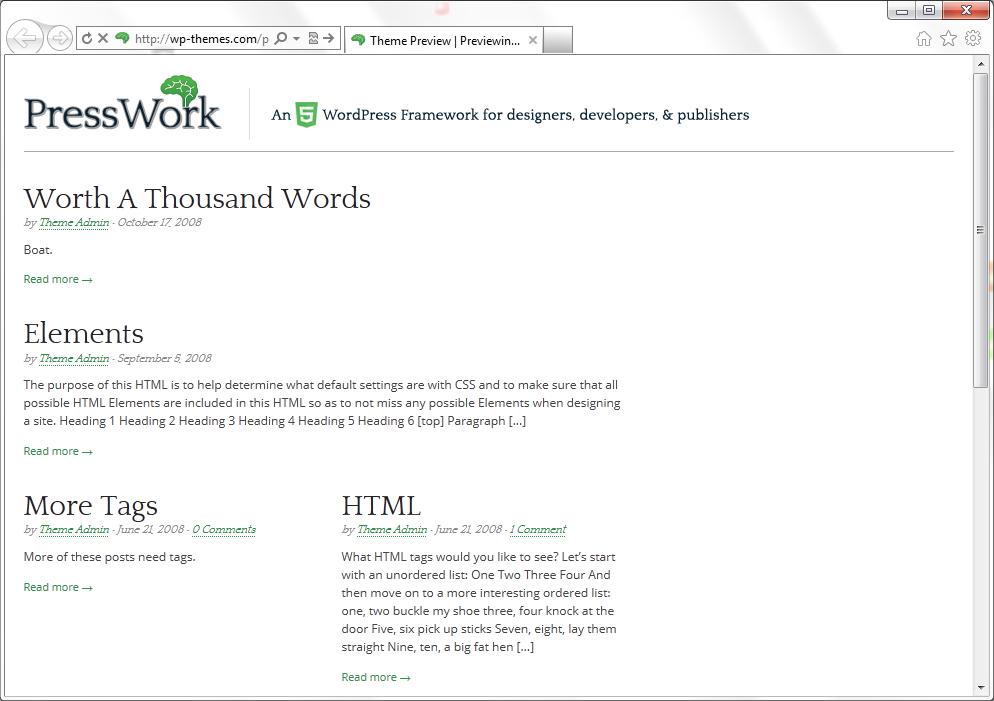 PressWork - чистая тема на HTML5 и CSS3 с уникальными возможностями индивидуальной настройки | n-wp.ru