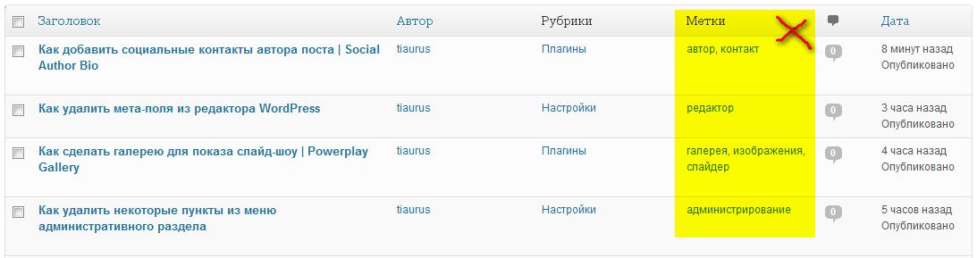 Как выстроить в произвольном порядке колонки в списке постов и удалить некоторые из них | n-wp.ru