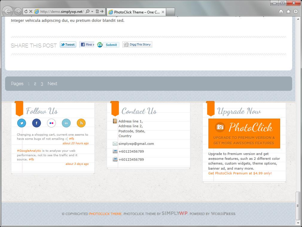 PhotoClick - великолепная тема для блога, фотоблога и портфолио