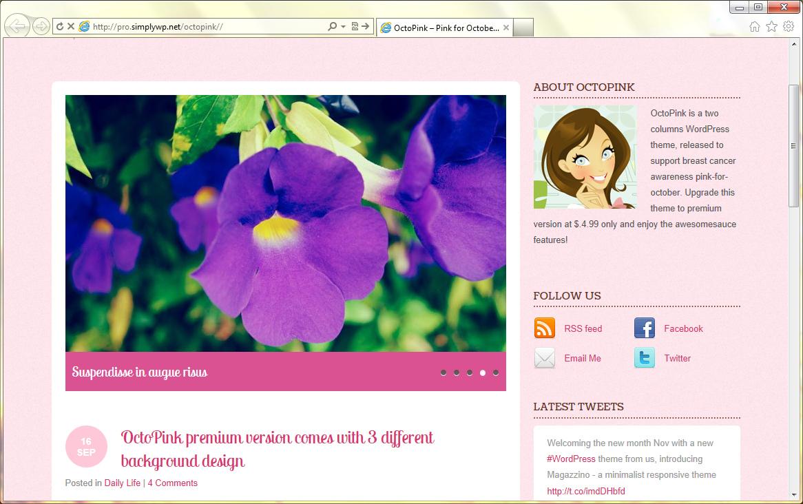 Octopink - великолепная тема для женского блога