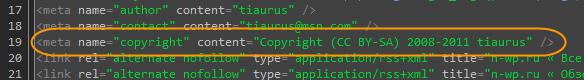 Как добавить копирайт в исходный код страниц блога | n-wp.ru